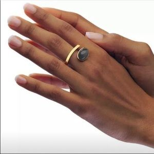 Geometric Shape Gold with Gray Stone Ring
